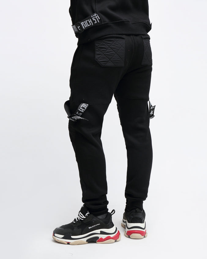 QUILTED STRAP JOGGER - Color: BLACK