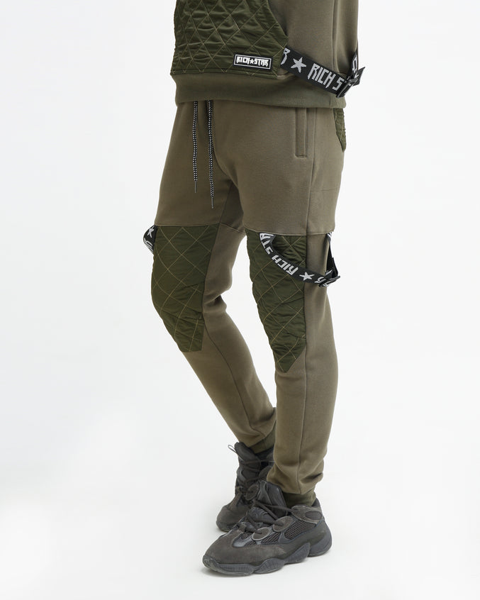 QUILTED STRAP JOGGER - Color: OLIVE