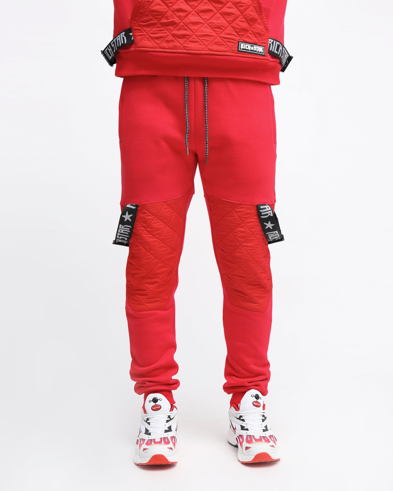 QUILTED STRAP JOGGER - Color: RED