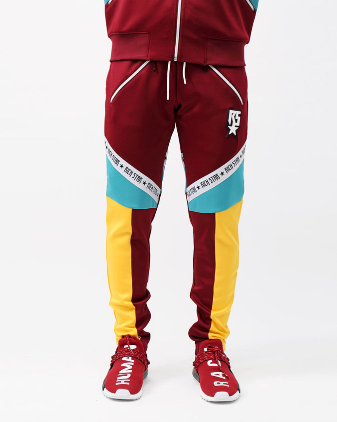 RICHSTAR SLANT LOGO TRACK PANT-COLOR: BURGANDY