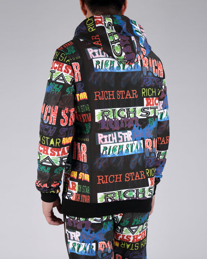 Rich Star Allover Hoodie - Color: MULTI COLOR