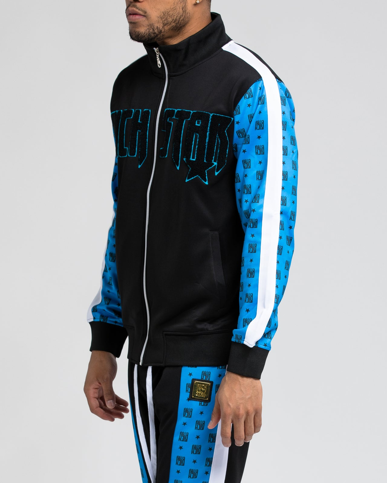 Logo Allover Block Track Jacket - Color: BLUE | Blue