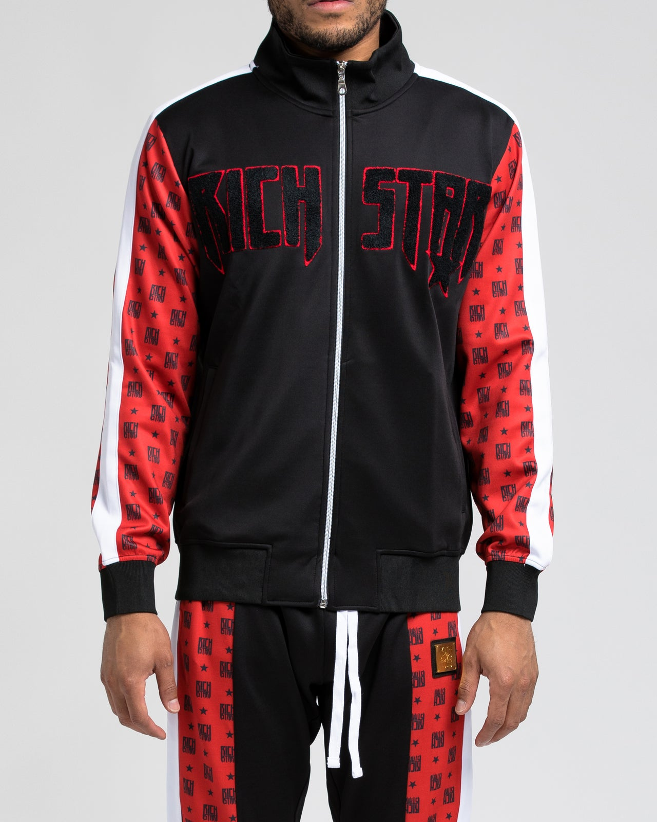 Logo Allover Block Track Jacket - Color: RED | Red