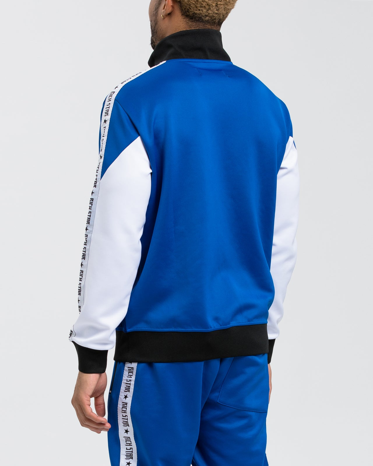 Logo Tape Color Block Tack Jacket - Color: BLUE