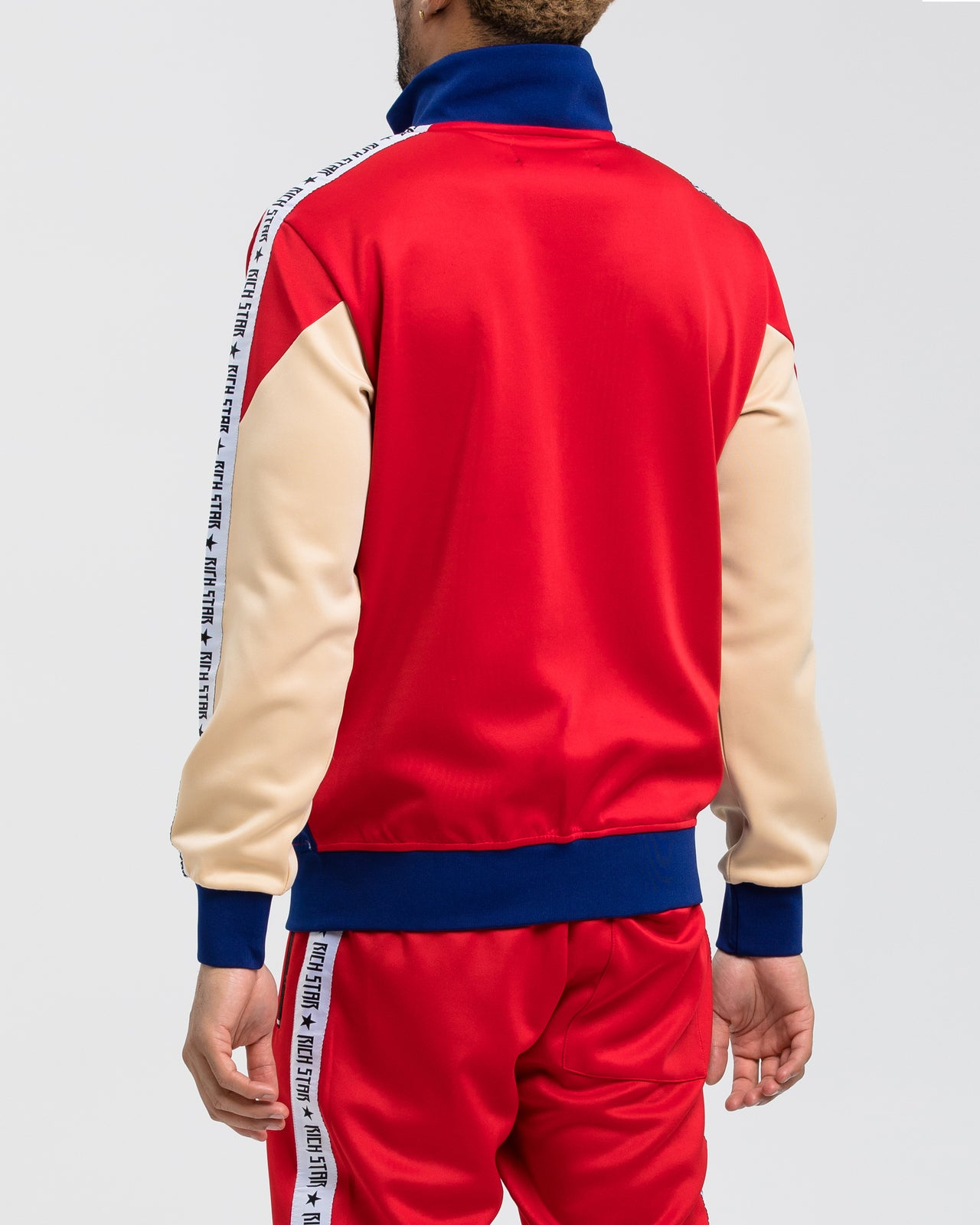 Logo Tape Color Block Tack Jacket - Color: RED