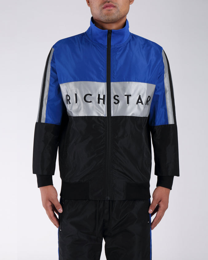 Sport Color Bloack Track Jacket - Color: BLUE