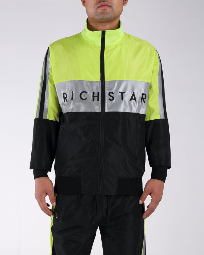 Sport Color Bloack Track Jacket - Color: GREEN