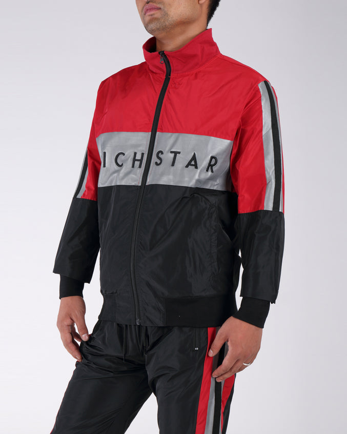 Sport Color Bloack Track Jacket - Color: RED