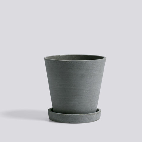 Flowerpot with Saucer, Medium Green