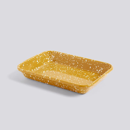 Enamel Tray, Rectangular Speckle Mustard
