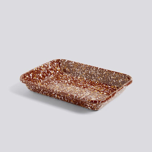 Enamel Tray, Rectangular Sprinkle Brown