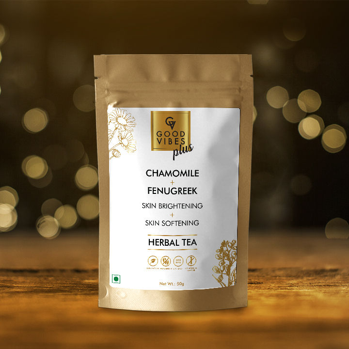 Good Vibes Plus Skin Brightening + Skin Softening Herbal Tea - Chamomile + Fenugreek (50 g)