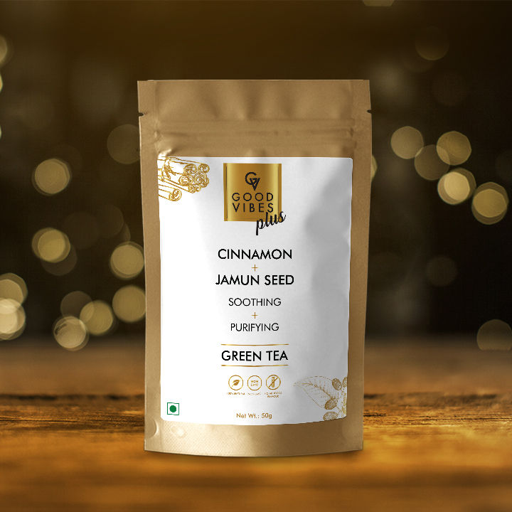 Good Vibes Plus Soothing + Purifying Green Tea - Cinnamon + Jamun Seed (50 g)