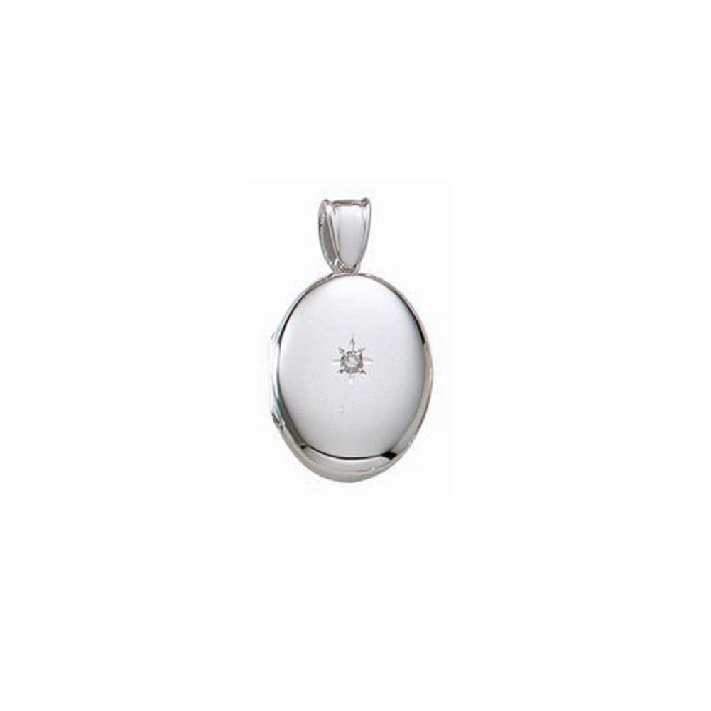 14k White Gold Premium Weight Oval Picture Locket with Genuine Diamond 3/4 Inch X 1 Inch in Solid 14K White Gold with Engraving