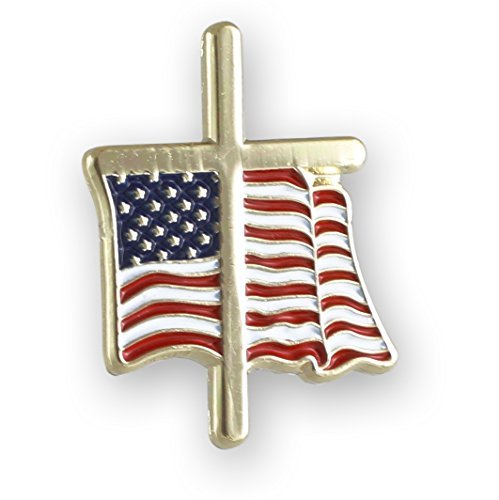 American Flag With Religious Cross Lapel Pin