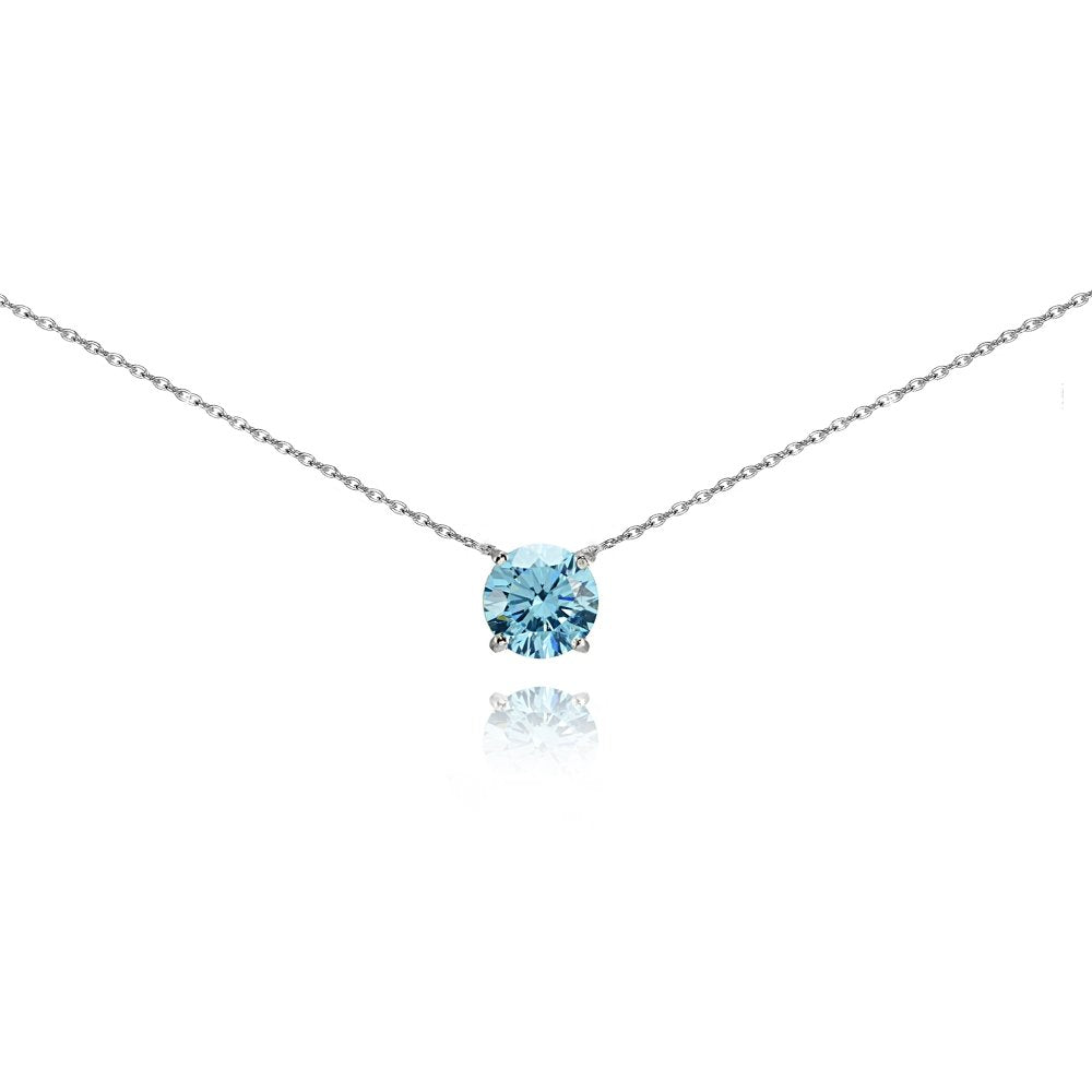 Sterling Silver Solitaire Choker Necklace for Women Girls Made with Swarovski Crystal
