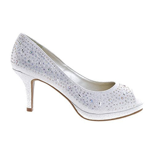 City Classified Frank Comfort Soft Foam Peep Toe Glitter Rhinestones, High Heel Dress Pump