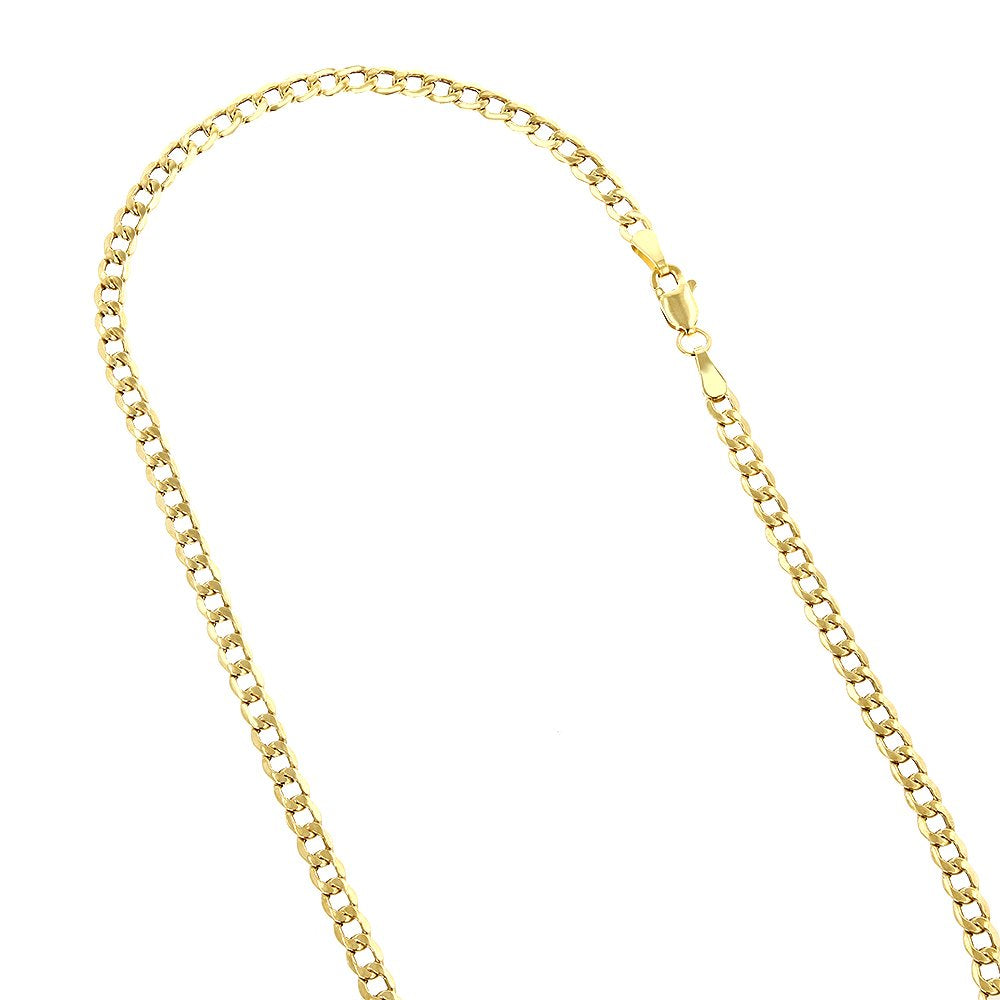 "IcedTime 14K Yellow gold HOLLOW cuban link chain 22"" Long 4MM Wide MLC5"