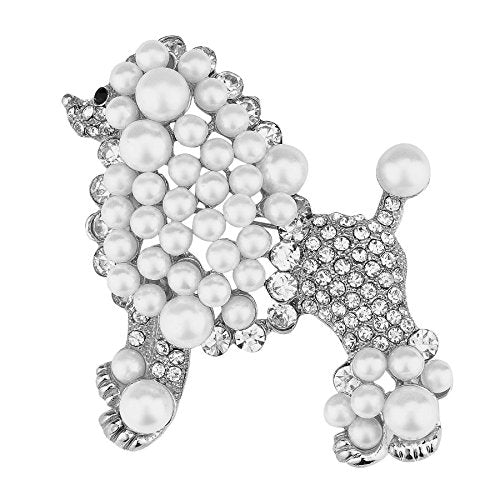 WT Jewelry Sigma Gamma Rho Inspired Silver Toned Pretty Poodle Crystal Brooch