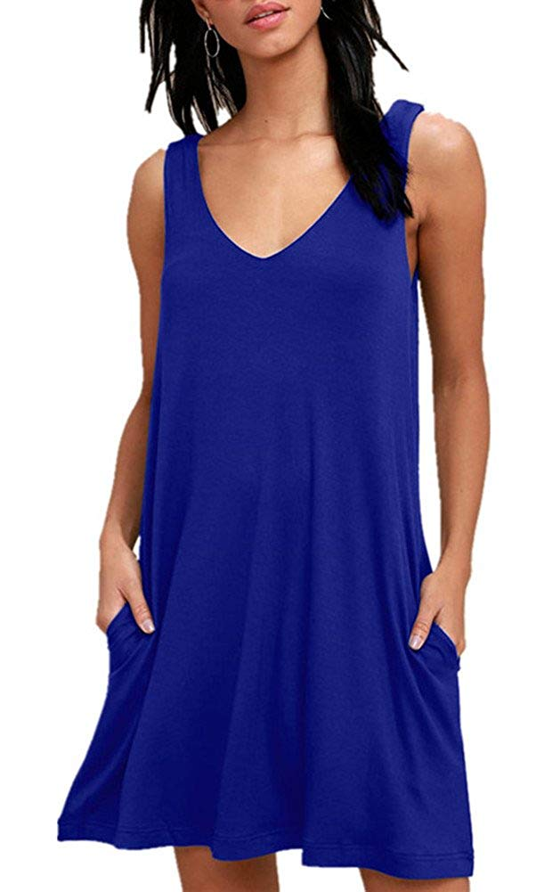 BISHUIGE Women Summer Casual T Shirt Dresses Beach Cover up Plain Pleated Tank Dress