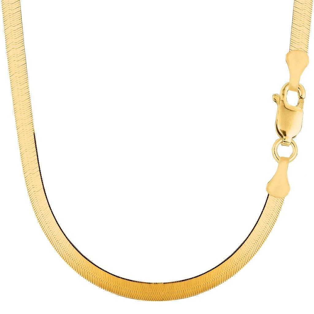 "14K Yellow Gold 6.00mm Shiny Imperial Herringbone Chain Necklace or Bracelet for Pendants and Charms with Lobster-Claw Clasp (7"", 8"", 16"", 18"" 20"" or"