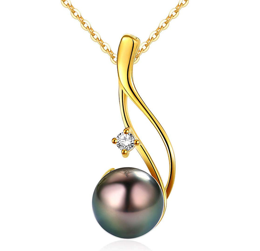 CHAULRI Authentic South Sea Tahitian Black Pearl Pendant Necklace 9-10mm Round 18K Gold Plated 925 Sterling Silver - Jewelry Gifts for Women Wife Mom