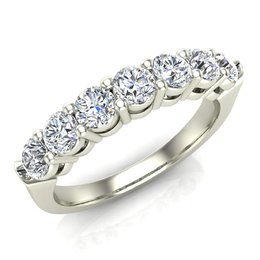 1.00 ct tw Seven Stone Diamond Wedding Band Ring 14K Gold (G,SI)