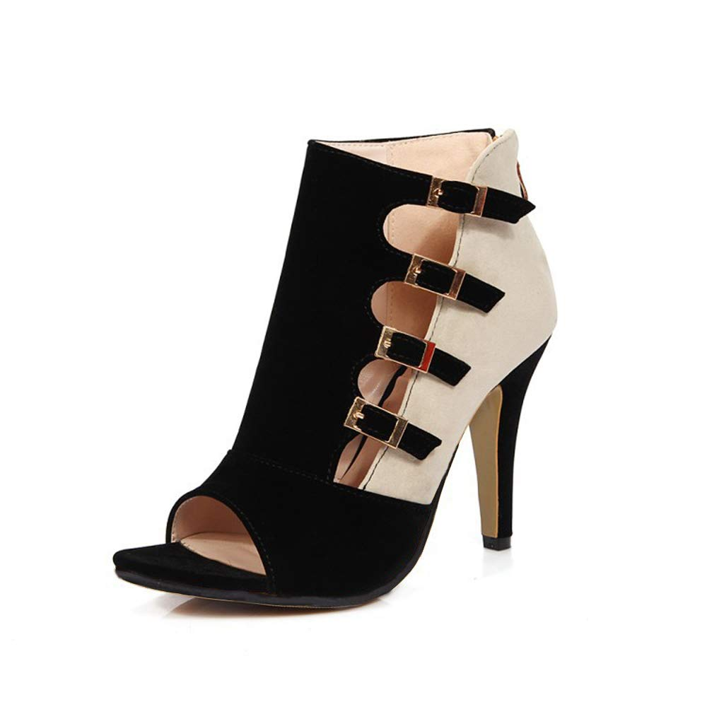 GATUXUS Open Toe Women Platform High Heel Shoes Buckle Pump Boots for Party Prom