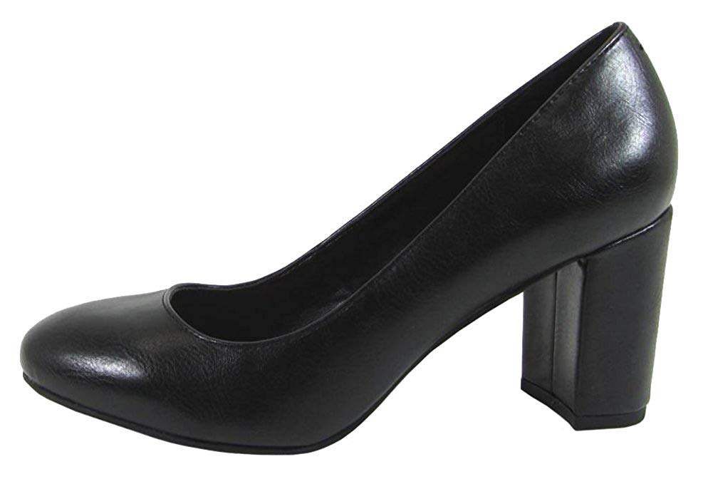 City Classified Comfort Women's Round Toe Chunky Block Mid Heel Pump
