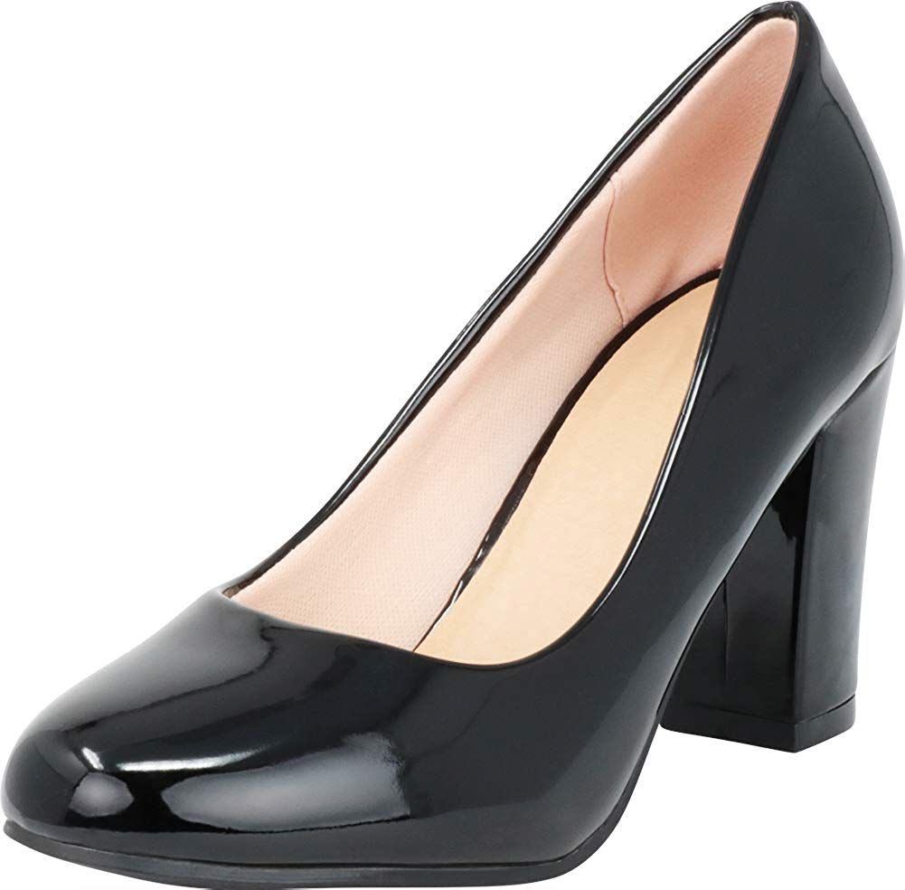 Cambridge Select Women's Classic Round Toe Chunky Wrapped Block High Heel Pump