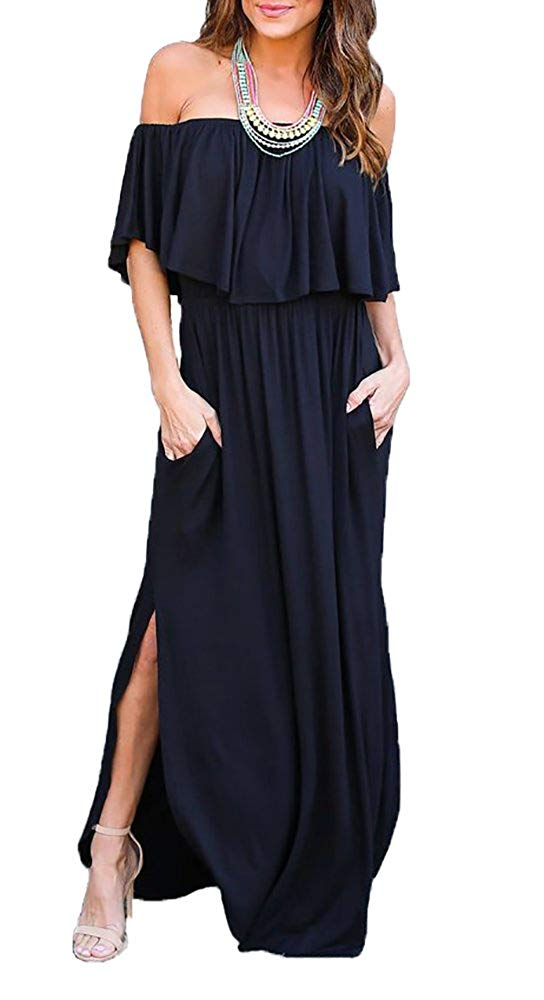 Sarin Mathews Womens Off The Shoulder Ruffle Party Dress Casual Side Split Beach Long Maxi Dresses with Pockets