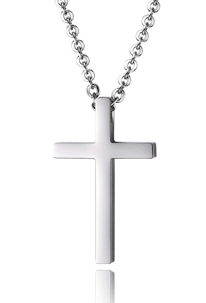 Reve Simple Stainless Steel Silver Tone Cross Pendant Chain Necklace for Men Women, 20''-22''