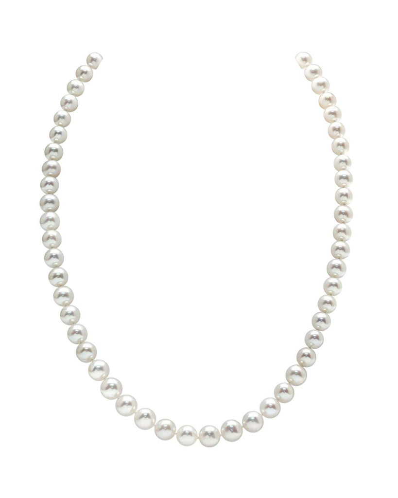 "THE PEARL SOURCE 14K Gold AAA Quality Round White Freshwater Cultured Pearl Necklace for Women in 18"" Princess Length"