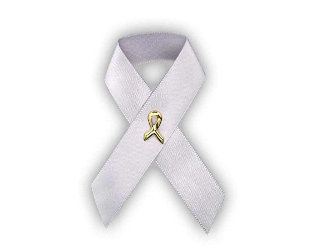 Fundraising For A Cause Parkinsons Awareness Satin Gray Ribbon Pins (Wholesale Pack - 100 Pins)