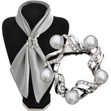 Maikun Scarf Clip Flower Pearl Diamante Multi-uses Jewelry Christmas Valentine's Gifts