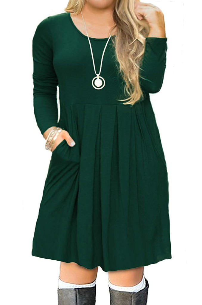 FOLUNSI Women's Plus Size Casual Long Sleeve Pleated T Shirt Dress with Pockets