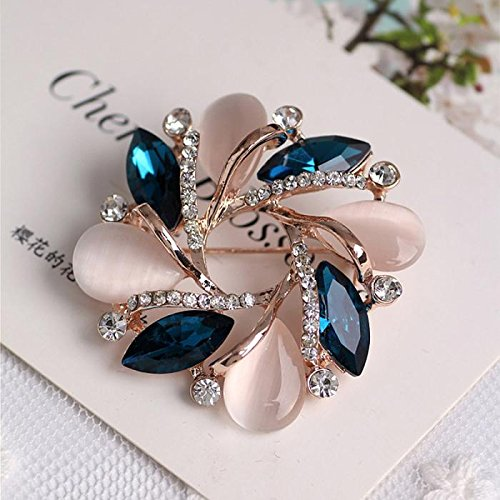 1pc Crystal Bauhinia Shape Brooch For Women Dress Decorative Pin
