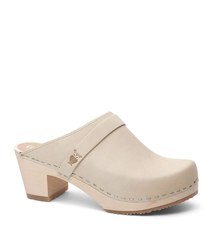 Sandgrens Swedish High Heel Wooden Clog Mules for Women | Dublin