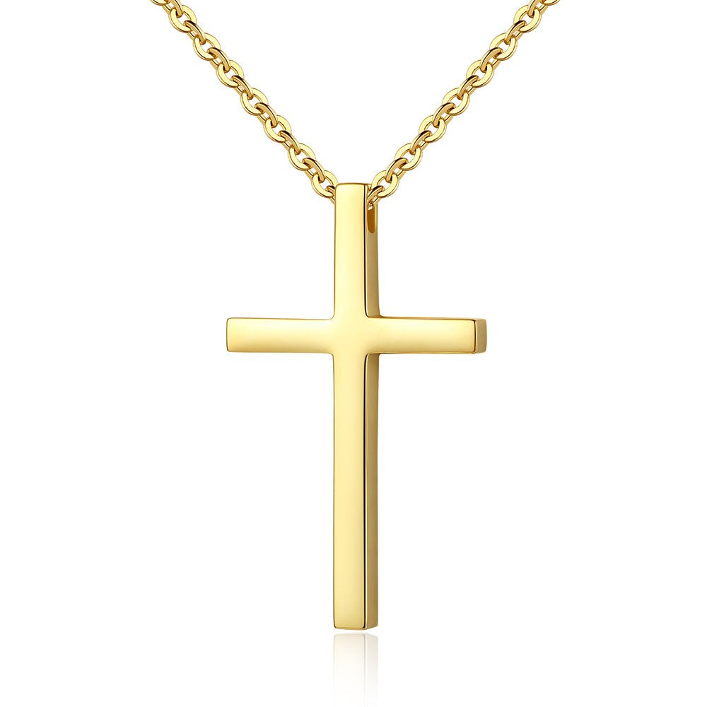 Reve Simple Stainless Steel Cross Pendant Chain Necklace for Men Women, 20''-22'' Link Chain