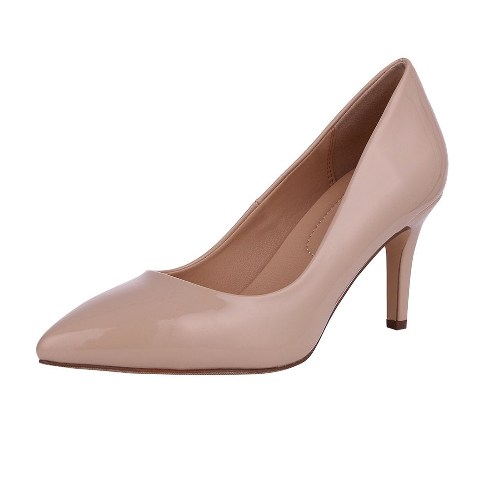 Buganda Women's Fashion Patent Leather High Heels Sexy Slip On Pointed Toe Pumps Wedding Party Basic Shoes