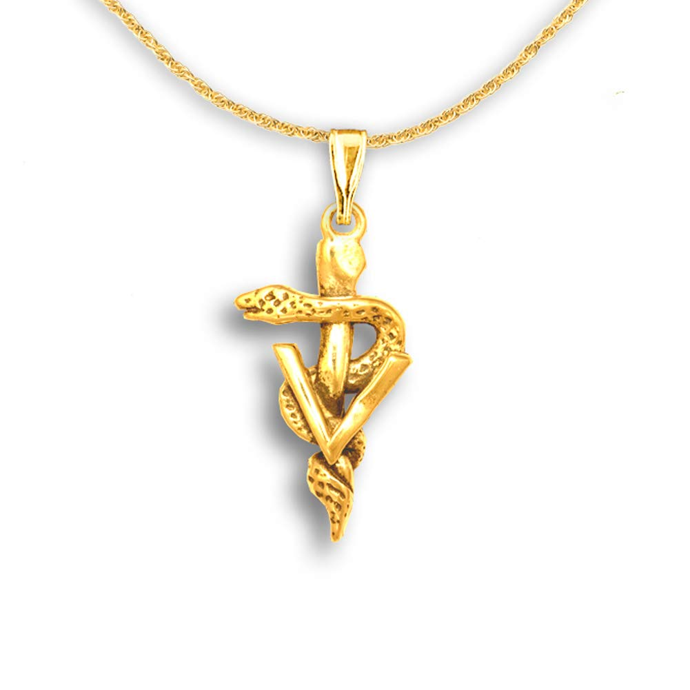 The Magic Zoo 14k Gold Veterinary Caduceus Pendant