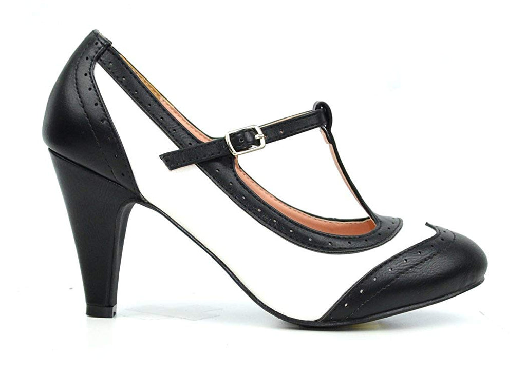 Chase & Chloe Kimmy-51 Women's Two Tone T-Strap Pump