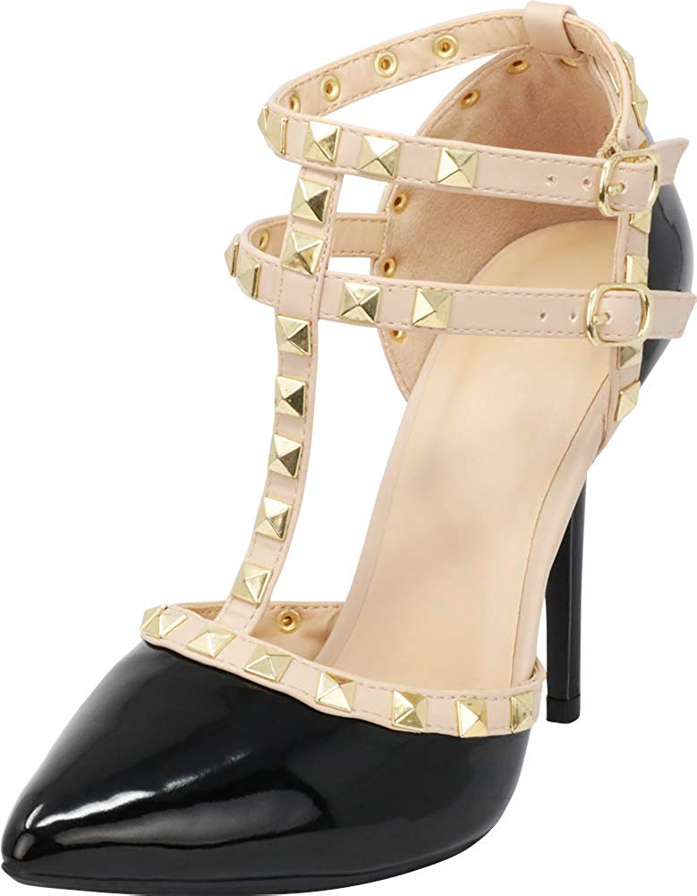 Wild Diva Womens Pointy Toe Gold Stud Strappy Ankle T-Strap Stiletto Heel Pump Sandal
