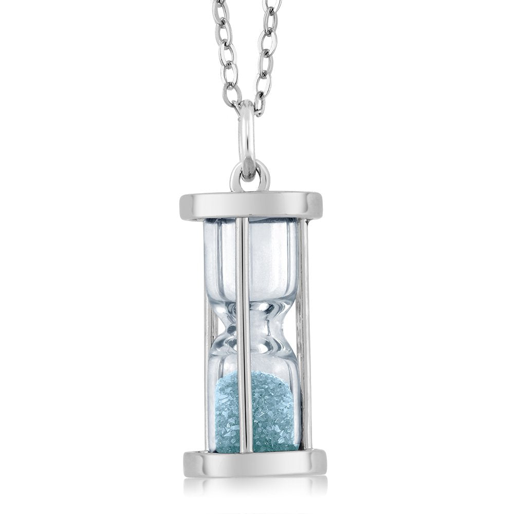 Sterling Silver Aquamarine Dust Hourglass Pendant Necklace 0.75 Ct with 18 Inch Silver Chain