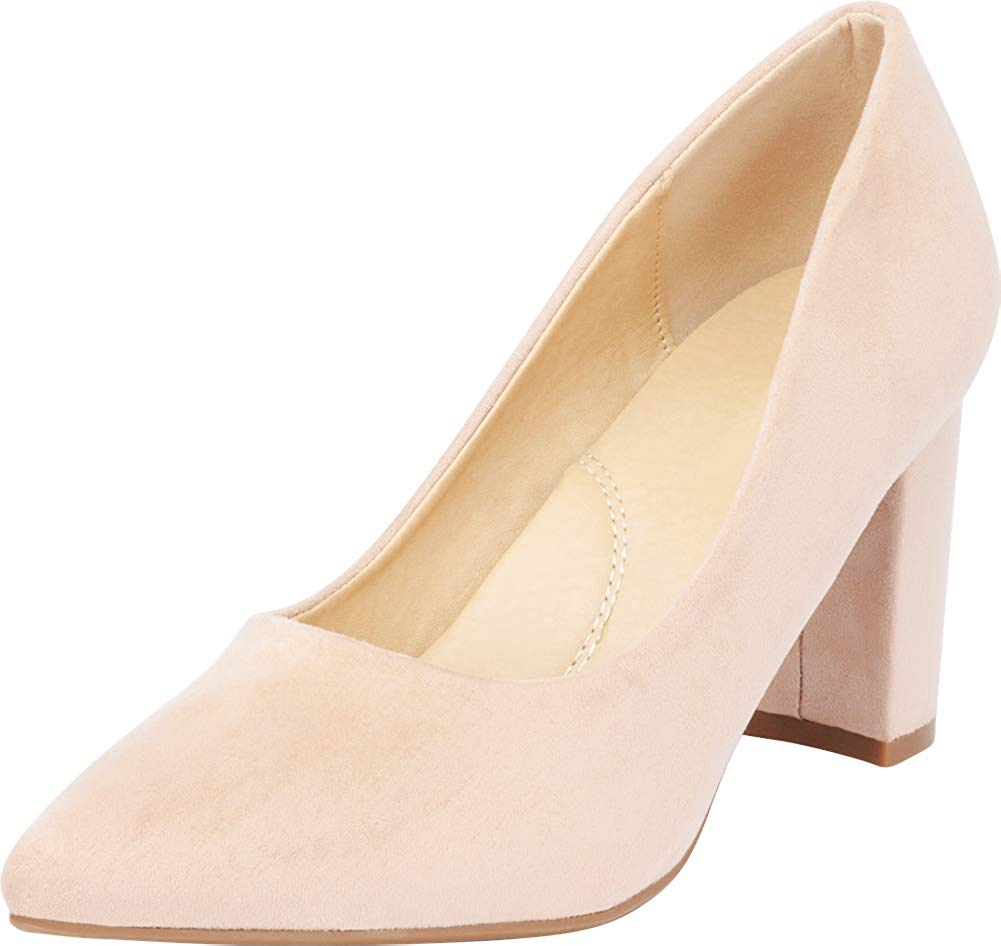Cambridge Select Women's Classic Pointed Toe Chunky Block Heel Pump