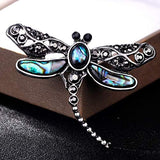 Funnmart Natural Abalone Shell Dragonfly Brooch Pins Fashion Wedding Party Brooches for Women Hats Scarf Dress Clip Vintage Jewelry