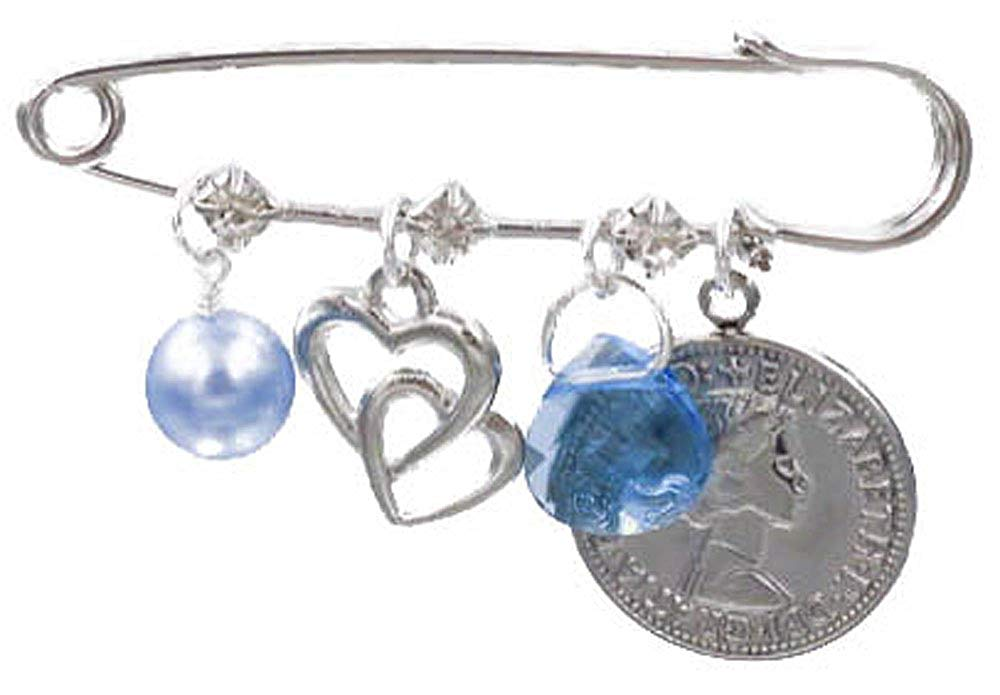 Better Than Buttons Light Blue Simulated Pearl, Double Heart, Blue Crystal, and Six Pence Bridal Pin