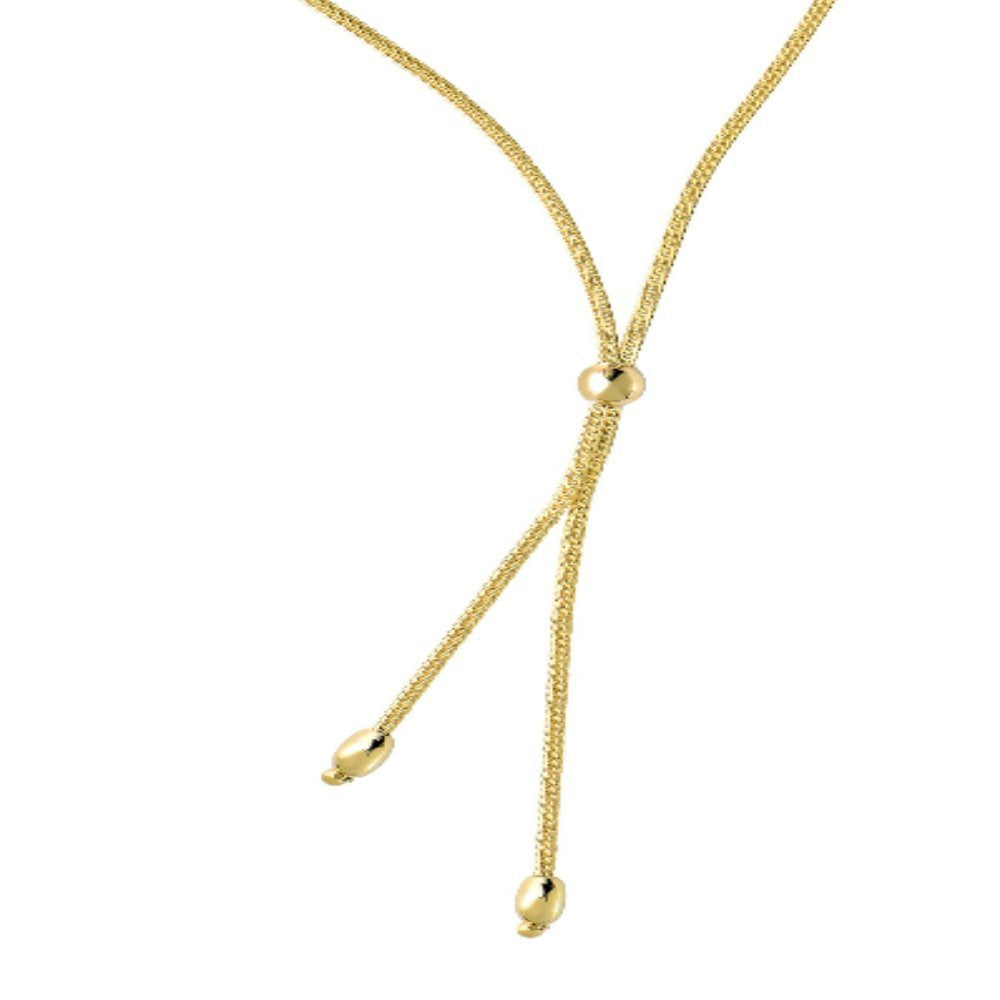 14k Yellow Gold Wheat Type Round+ Oval Bead Fancy Lariat Necklace