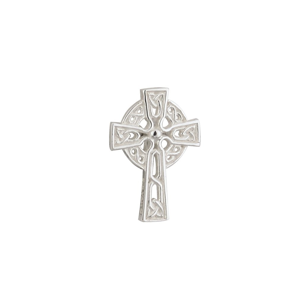 Irish Tie Tack Celtic Cross Silver Plate Made in Ireland