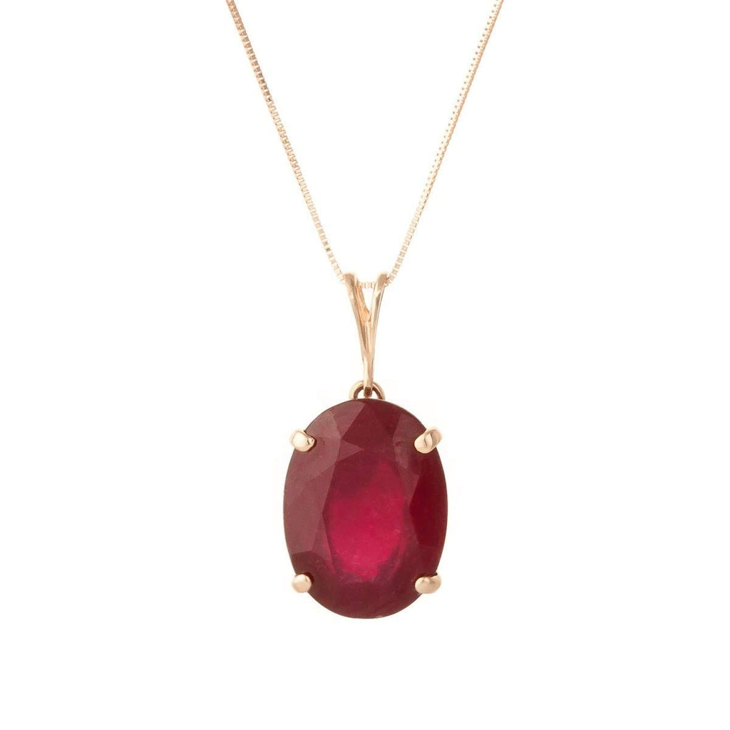 14k Solid Rose Gold Necklace with 7.7 Carat Natural Oval-Shaped Ruby Pendant